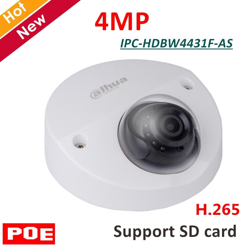 Câmera IP Dahua Inglês IPC-HDBW4431F-AS 4MP H.265 4MP IR Mini Dome Câmera de Segurança Suporte a função de cartão SD e POE