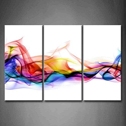 3 panneau mur Art frais Look couleur abstraite fumée coloré fond blanc peinture photos imprimer sur toile livraison directe