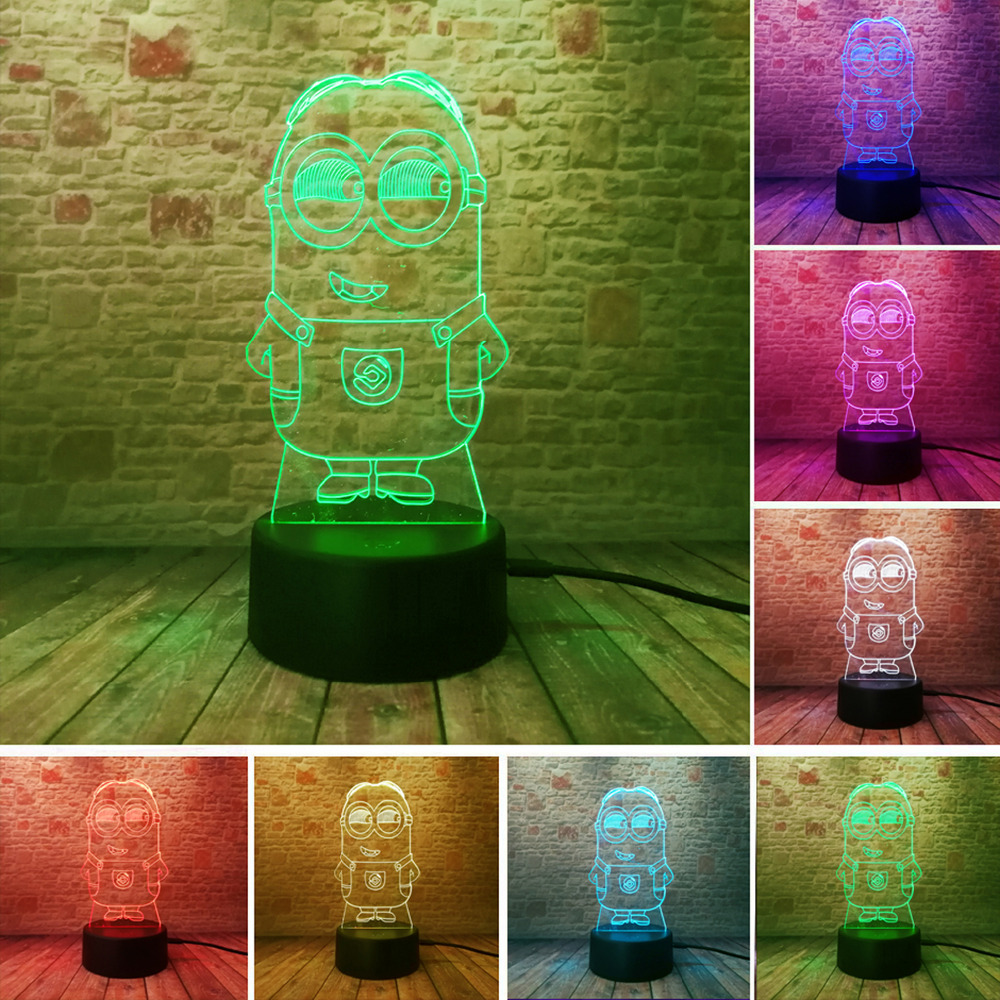 Novelty 3D Minions Night Light LED Table Lamp Touch Desk Lighting Colorful For Child Baby Gift Birthday Party Bedroom Home Deco novelty 3d minions night light led table lamp touch desk lighting colorful for child baby gift birthday party bedroom home decor