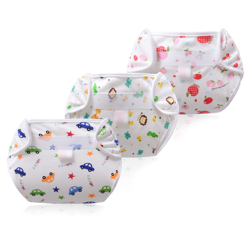 Soft Baby Nappies Washable Diapers Cover Wrap Cartoon Fruit Print Baby Nappy Changing Reusable Baby Cloth