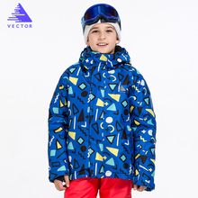 цены Boys Ski Jacket Children Waterproof Windproof Clothing Kids Ski Set Lining -20 DEGREE Winter Warm Snowboard Outdoor Ski Suit