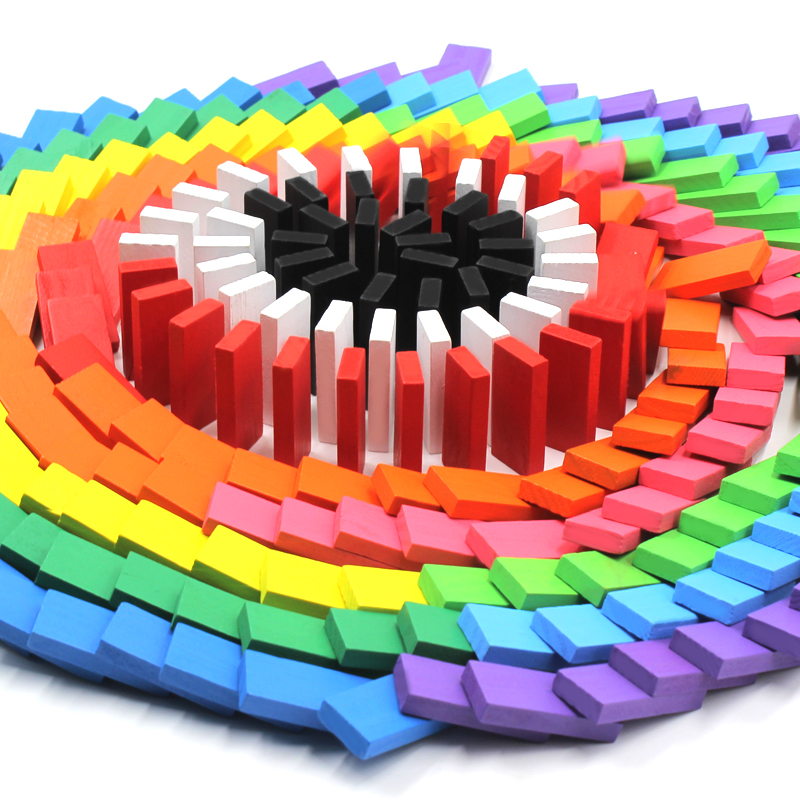 Colored Dominoes 480pcs Wooden Toy Domino Children Adult Competition Special Puzzle Intelligence Building Blocks Toys for Kids