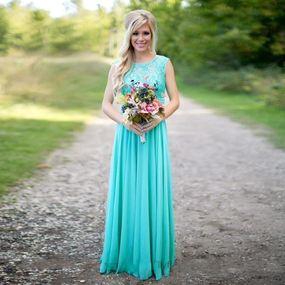 Jewel Neck Hi Low Bridesmaid Dresses Bohemian Country Garden Chiffon ...