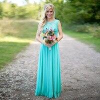 Aqua Blauw Bruidsmeisjekleding Pailletten Chiffon Zomer Bruiloft Gast Jurk voor Party Floor Lengte Applicaties Lace Bruidsmeisje Jurken
