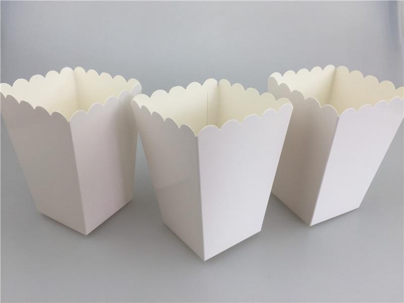 12pcs/lot Pure White Mini Paper Popcorn Box Sanck Candy Box Gift Baby Shower Wedding Birthday Party Moive Night Treat Supplies