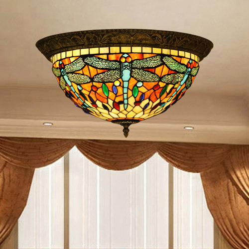 Vintage Tiffany Style Stained Glass Dragonfly Ceiling Lamp