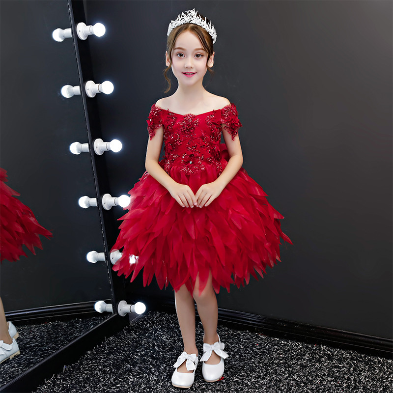 2018 Summer New Toddler Kids Baby Fashion Wine-red Color Birthday Wedding Party Prom Flowers Feathers Dress Children Tutu Dress2018 Summer New Toddler Kids Baby Fashion Wine-red Color Birthday Wedding Party Prom Flowers Feathers Dress Children Tutu Dress