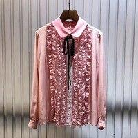 Розовый Блузки для малышек и Рубашки для мальчиков Для женщин Мода 2018 оборками Blusas блузка Блузка с длинными рукавами женщина