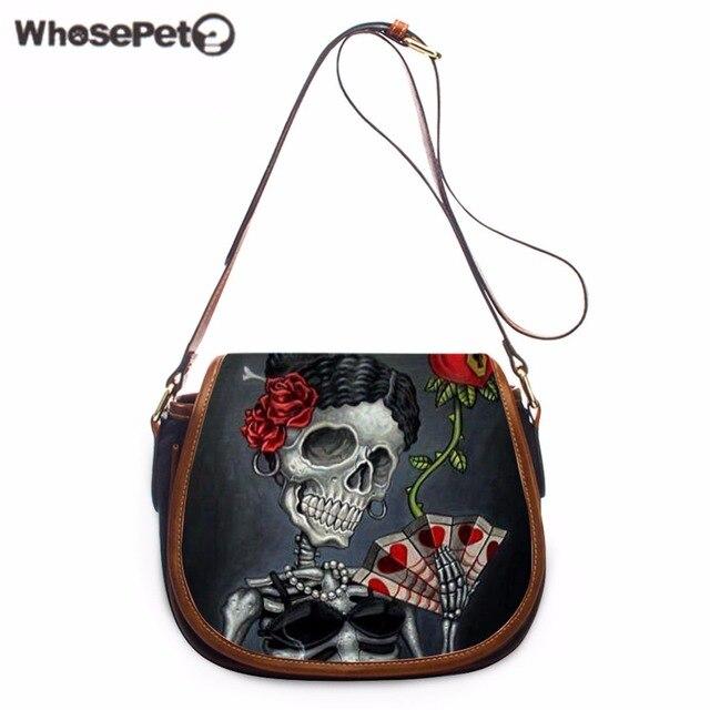 9a6bb25cfd WHOSEPET Cool Handbag Skulls Printing Women Totes Mini Clutch Purse Bag  Hobo Messenger Bag Female Crossbody