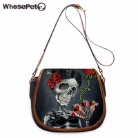 WHOSEPET Cool Handbag Skulls Printing Women Totes Mini Clutch Purse Bag Hobo Messenger Bag Female Crossbody