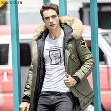 King's Faith Winter Thick Hood Military Parka Men Brand Casual Windroof Outerwear Medium Long Mens Warm Jackets And Coats  2521