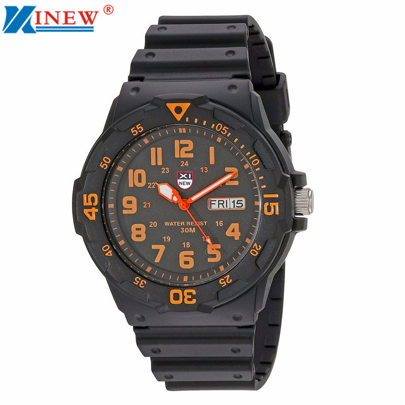 XINEW Fashion Luxury Men Watch Army Date Week Sport Resin Silicone Wrist Watch Mens Waterproof Analog Quartz Watches Relogio superior xinew mens fashion silica sport date calendar chronograph analog quartz wrist watch relogio masculino waterproof sep 14