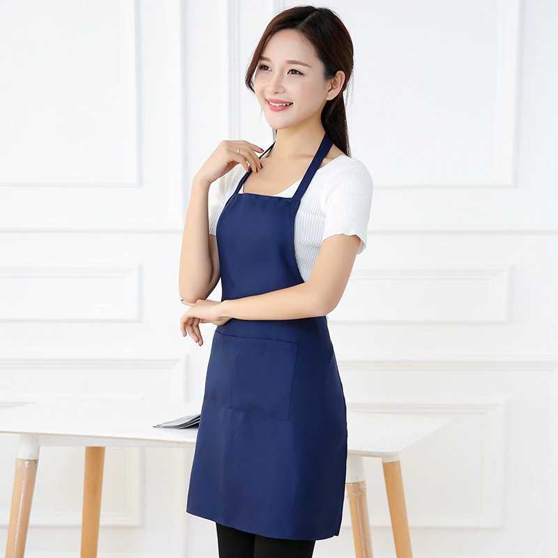 Modern Style Pure Color Cooking Kitchen Apron for Woman Men Chef Waiter Cafe Shop BBQ Hairdresser Aprons Custom Gift Bibs