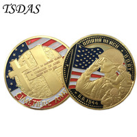 Memorial Coins OMAHA BEACH Commemorative of United States With Gold Plated Coin 40*3mm Free Shipping