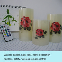 flamless wireless remote control led wax candle/RGB multiple color changing/home decoration/lovely night light