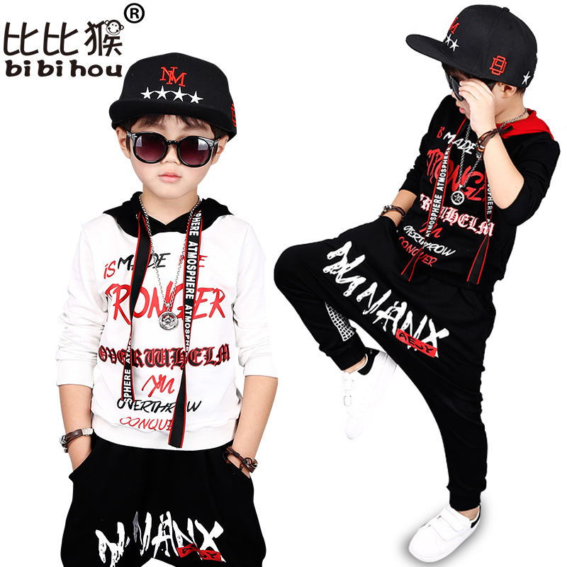 Bibihou 2017 new fashion print cool Baby boys hooded t-shirt hip hop dance harem pants boy sport clothes suits Kids clothing set strellson