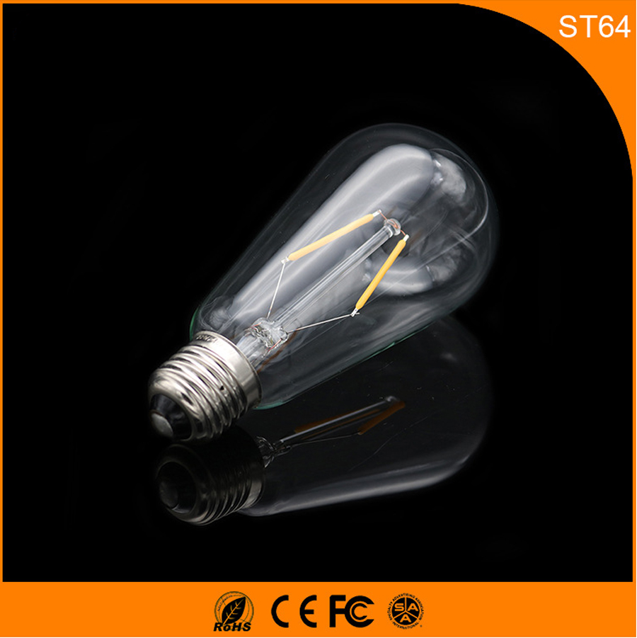50PCS Retro Vintage Edison E27 B22 LED Bulb ,ST64 2W Led Filament Glass Light Lamp, Warm White Energy Saving Lamps Light AC220V retro lamp st64 vintage led edison e27 led bulb lamp 110 v 220 v 4 w filament glass lamp