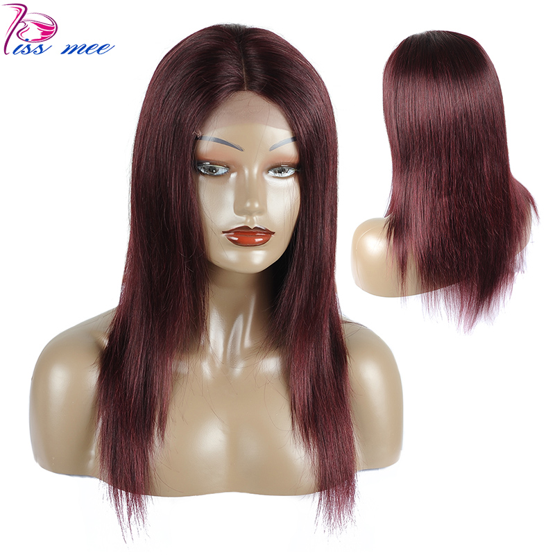 KISSMEE Burgundy Lace Front Wigs Pre Plucked With Baby Hair Lace Front Human Hair Wigs Brazilian Straight Hair Wig Remy Hair