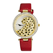 quartz leopard ladies watchLuxury Fashion RhinestoneCrystal Womens Watch 2017 new casual female clock rose gold wristwatches