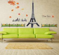 Aiwall MJ9503 Eiffel Tower Travel Landscape Architecture Leaves Waterproof Wall Stickers Removable Wall Stickers