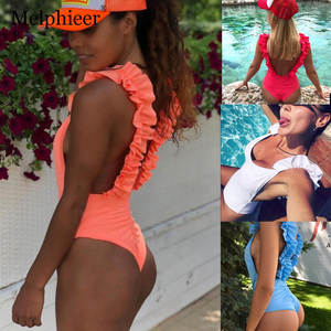 Swimsuit Bikini Body-Suit Scrunch Push-Up White Beach Women One-Piece Sexy Ruffle