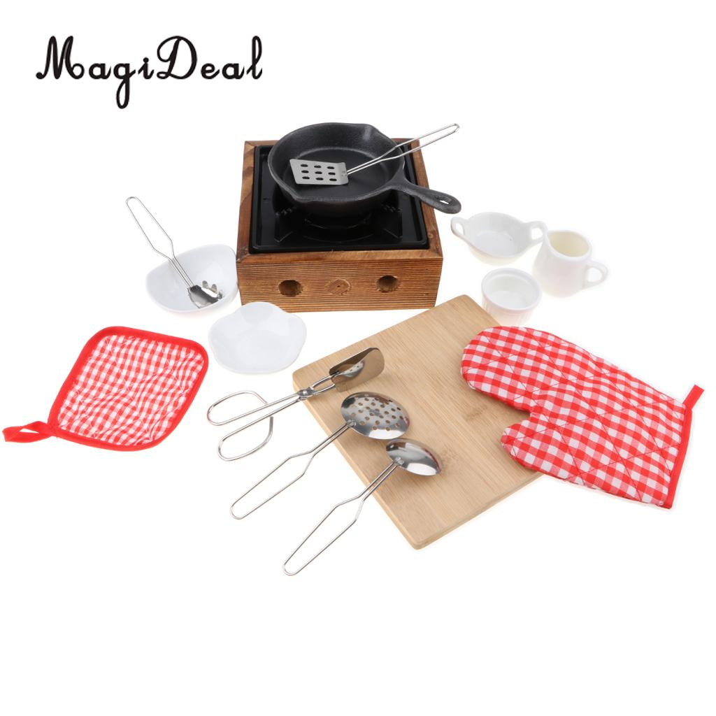 Miniature Japanese Food Play Kitchen Cookware Stove Bowl Chopping Board Kits Cooking Utensils Kids Pretend Play Toy -15pcs