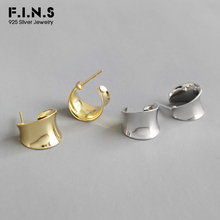 F.I.N.S Personalized Pure 925 Sterling Silver Earrings Arc-Shaped Wide Stud Geometry Concave Korean Womens