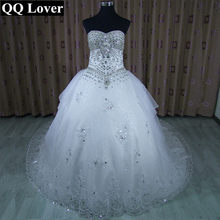 5eb8febb56e QQ Lover Vestido De Noiva crystal big train sexy shining tube top bandage  luxury rhinestone wedding dress wedding gown
