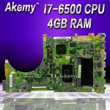 Akemy Q553UB Laptop motherboard For Asus Q553UB Q553UB Q553UQ Q553U Q553 Test original mainboard  4G RAM /I7-6500U CPU  test ok original laptop lenovo thinkpad x1 carbon motherboard mainboard with fan i7 3667u cpu touch 04x0495 w8p