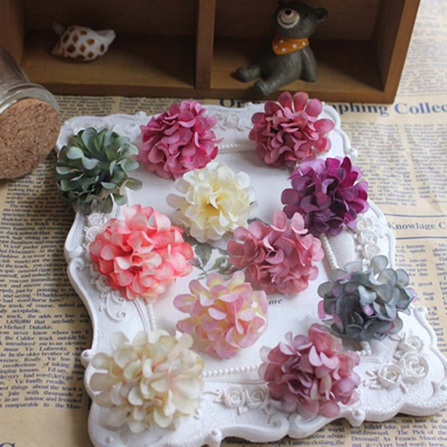 Dia4cm head60pcs fake chrysanthemum artificial silk small dia4cm head60pcs fake chrysanthemum artificial silk small hydrangea headsdiy decoration junglespirit Gallery