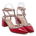 2016 New style women's sexy high heels Square heel Pointed Toe Rivets Buckle Strap Rubber Party shoes size 35-39