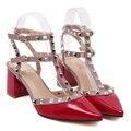 2016 Nuevas mujeres del estilo sexy zapatos de tacón alto tacón Cuadrado Remaches Punta estrecha Hebilla Correa De Goma zapatos de Fiesta talla 35-39