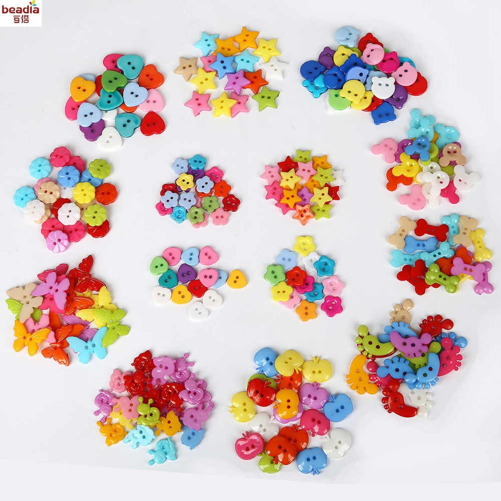 50-100PCS Random Mixed Decorative Buttons Lovely Conveyance Double Holes Mix Sewing Wooden Plastic Buttons Flatblck Scrapbooking