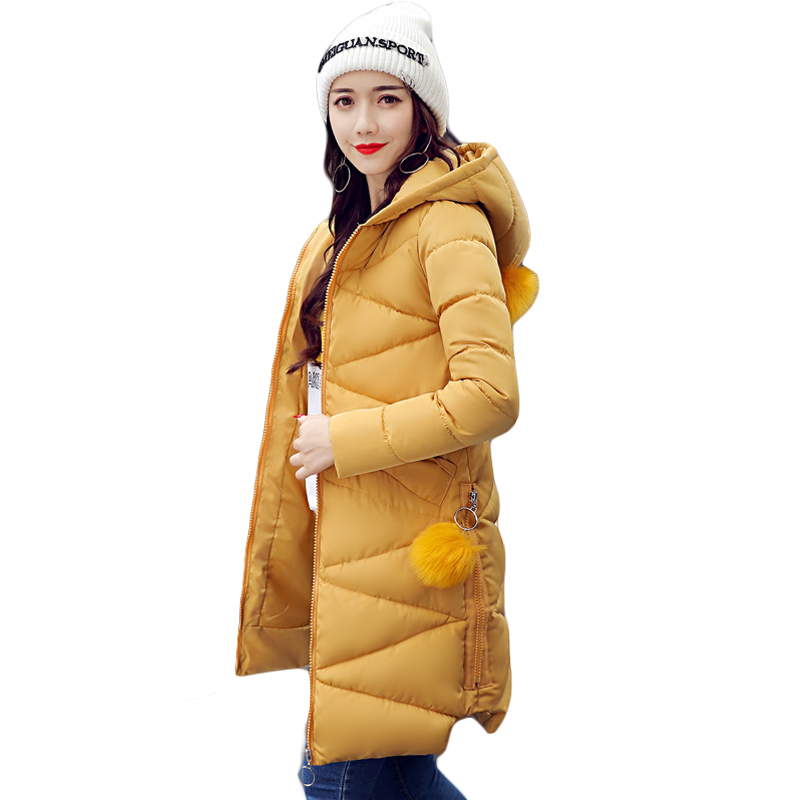 2017 Female Elegant Long Slim Cotton-padded Hooded Coats Women Solid Winter Warm Parkas Ladies Hairball Jackets Outwear CM1446 plus size 4xl ladies fashion winter coats 2017 casual parkas mujer outwear female hooded cotton padded long slim jackets cm1468