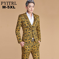 PYJTRL 2018 New Design 5XL Men Fashion Casual Yellow Floral Print Blazer Pants Suits Nightclub Stage Singer Wedding Groom Suits