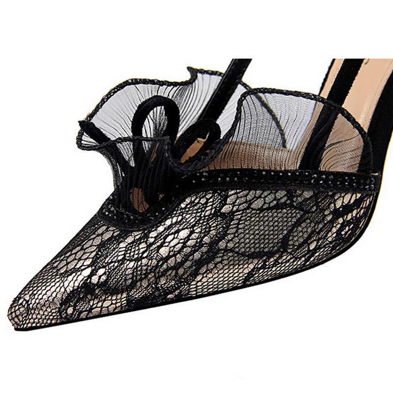 BIGTREE Yeni Stil Kadın Pompaları yüksek topuklu kadın ayakkabıları Dantel Çiçek Kadın Ayakkabı Toka Ayakkabı Kadın Yaz Sandalet kadın parti ayakkabıları