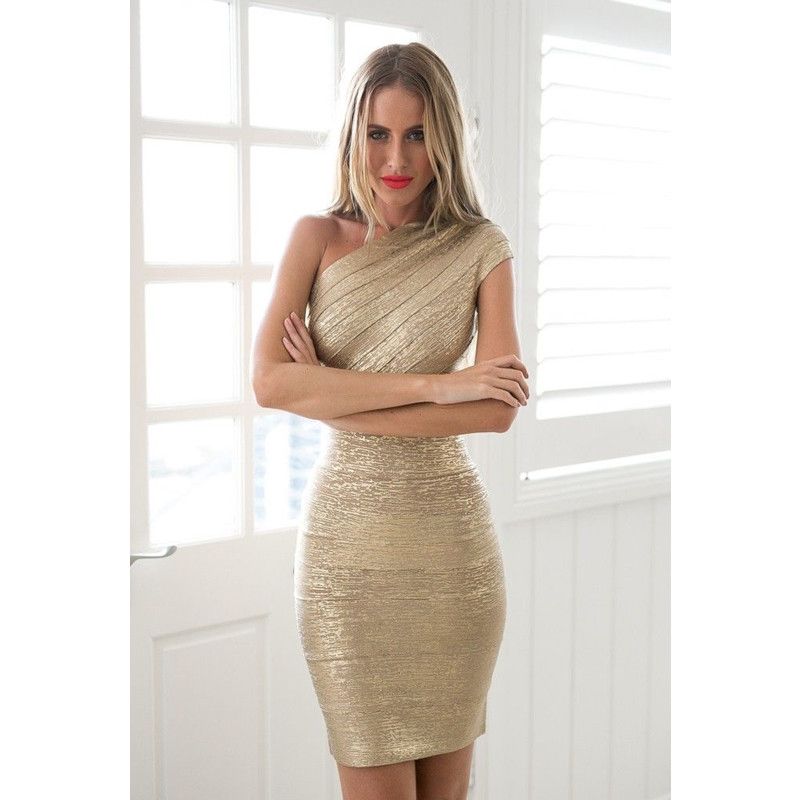 <font><b>Gold</b></font> Stamp One Shoulder Bandage <font><b>Dress</b></font> 2018 Hot Sale Women Mini <font><b>Dresses</b></font> Celebrity Party Club Bodycon Sleeveless Empire Vestido image