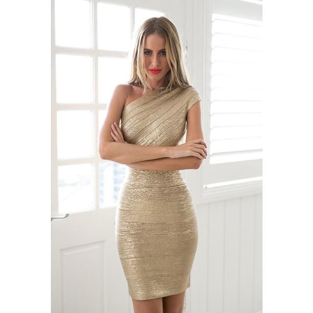Gold Stamp One Shoulder Bandage Dress 2018 Hot Sale Women Mini Dresses Celebrity Party Club Bodycon Sleeveless Empire Vestido
