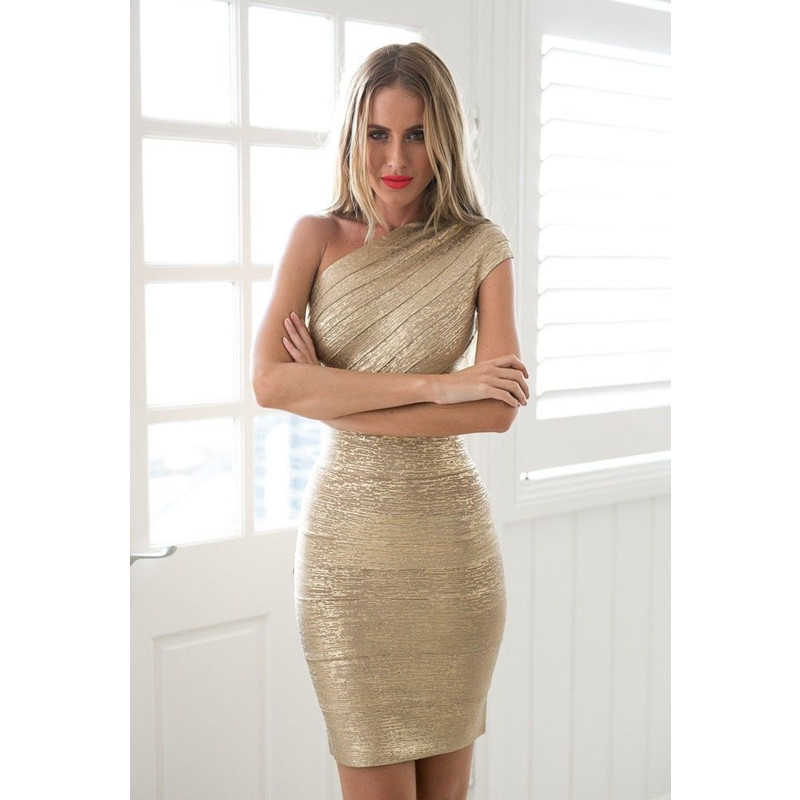 bfd4c5606752 Gold Stamp One Shoulder Bandage Dress 2018 Hot Sale Women Mini Dresses  Celebrity Party Club Bodycon