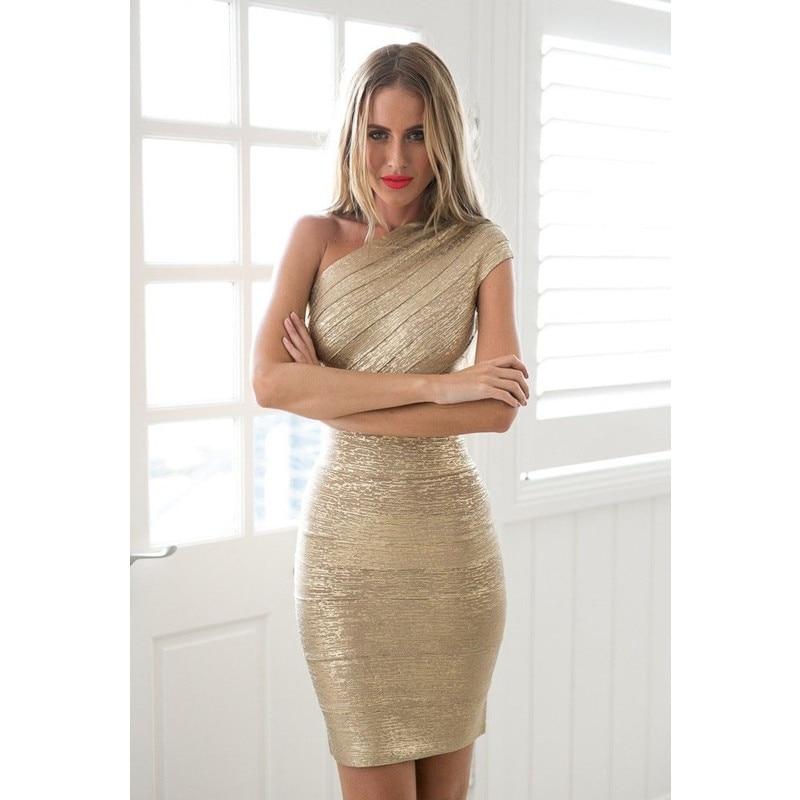 Timbre or une épaule Bandage robe 2018 offre spéciale femmes Mini robes célébrité parti Club moulante sans manches Empire Vestido