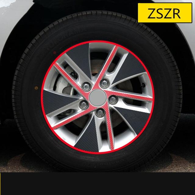 Red Black Mixed Color Carbin Fibre Rims Wheels Sticker For Toyota