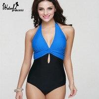 Plus Size Push Up One Piece Cut Out Swimwear Women Swimsuit Multi Color Bathing Suit Trikini Halter Beach Bathing Wear Bodysuit