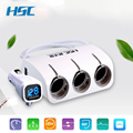 HSC YC-401A Car charger A drag three cigarette lighter plugs 2.1A With dual USB With voltage monitoring Power distributor