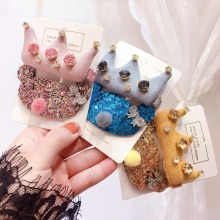 Korea Cotton Crown Cartoon Crystal Dolls Hair Accessories Girls Clip Flower Shiny Hairpins Barrettes Hairgrips