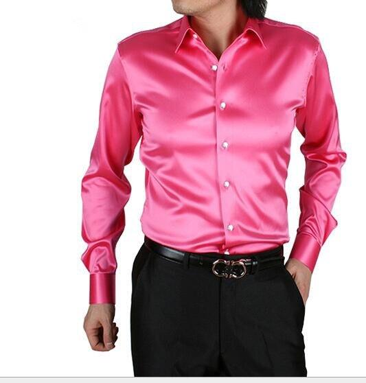 Свадьба Исполнительское искусство Парикмахерская DJ Мужчины с длинным рукавом Шелковая Рубашка мужчины Высокого Качества Смокинг Рубашки плюс размер S-XXXXXL горячей продажи