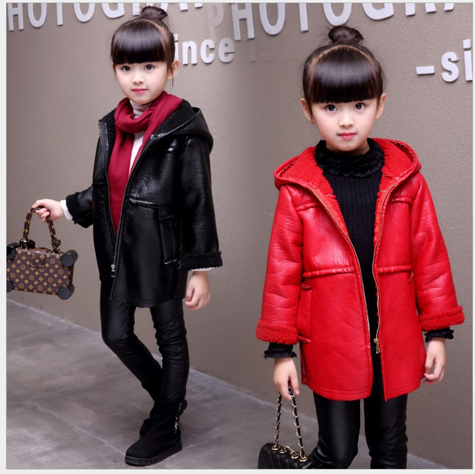 2017 Free Shipping Boys Winter Coats Kids Jacket Wool Long Hooded Girls Coat Velvet Children Outerwear Fashion Leather Jackets boys lamb wool jacket coats winter boy coat children fashion outerwear kids clothes boutique clothing