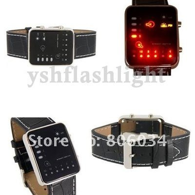 YM freeshipping Binary Japanese Multicolor LED Watch 10pcs/lot