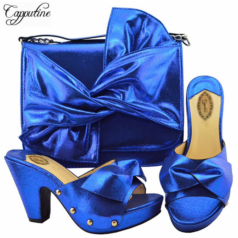 Capputine 2018 New Africa Nice Looking Shoes And Bag Set For Party Dress Italian Woman High Heels Shoes And Bag Set YM006 capputine africa style shoes and bag set fashion woman high heels pumps shoes and bag set for party free shipping bch 27