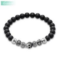 Thomas Skull Cross Matted Obsidian Beads Rebel Elastic Bracelet Ts 925 Sterling Silver Heart Punk Jewelry