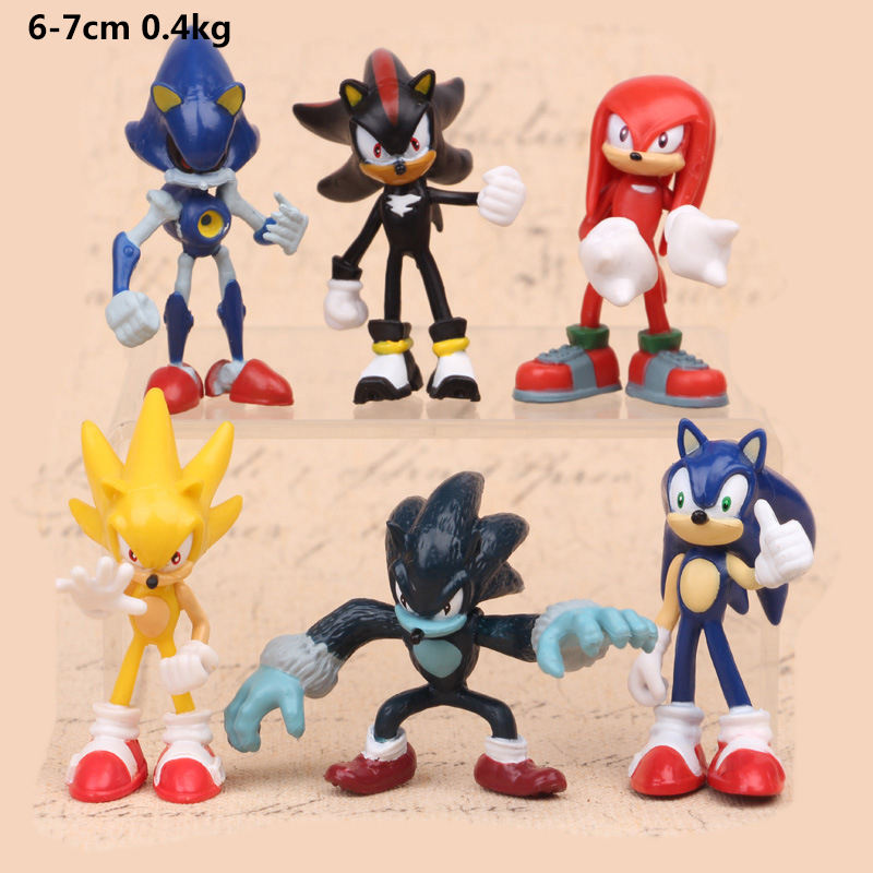 2018 Sonic 6pcs Set  the Hedgehog Amy Tails Mephiles Knuckles 6cm/2.4in PVC Figure Kids Action Figure Toys Robot patrulla canina with shield brinquedos 6pcs set 6cm patrulha canina patrol puppy dog pvc action figures juguetes kids hot toys
